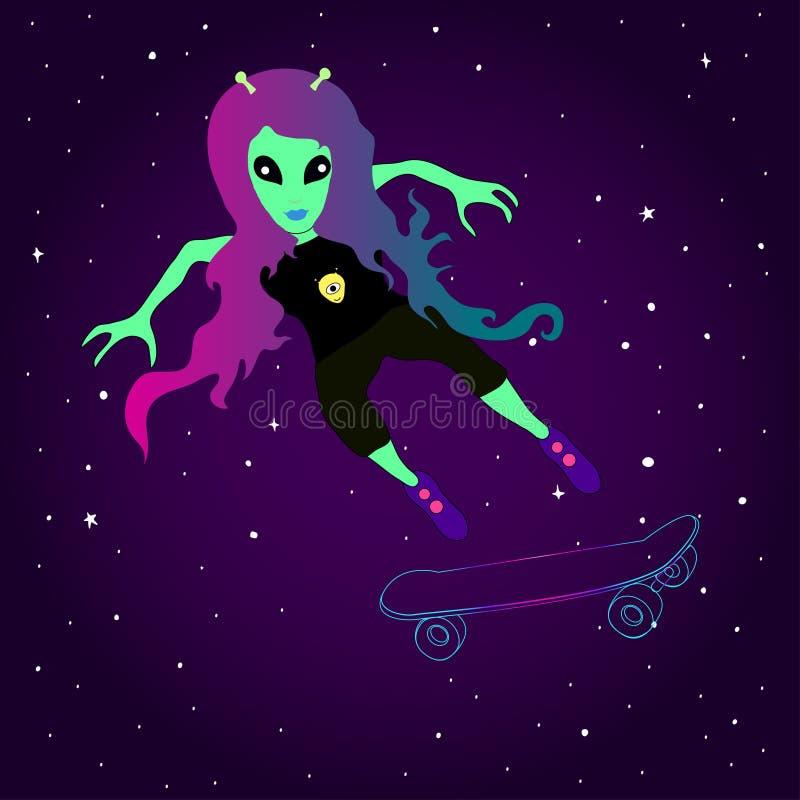 Den fantastiska främmande flickan åker skridskor på en skateboard mot bakgrunden av utrymme vektor illustrationer