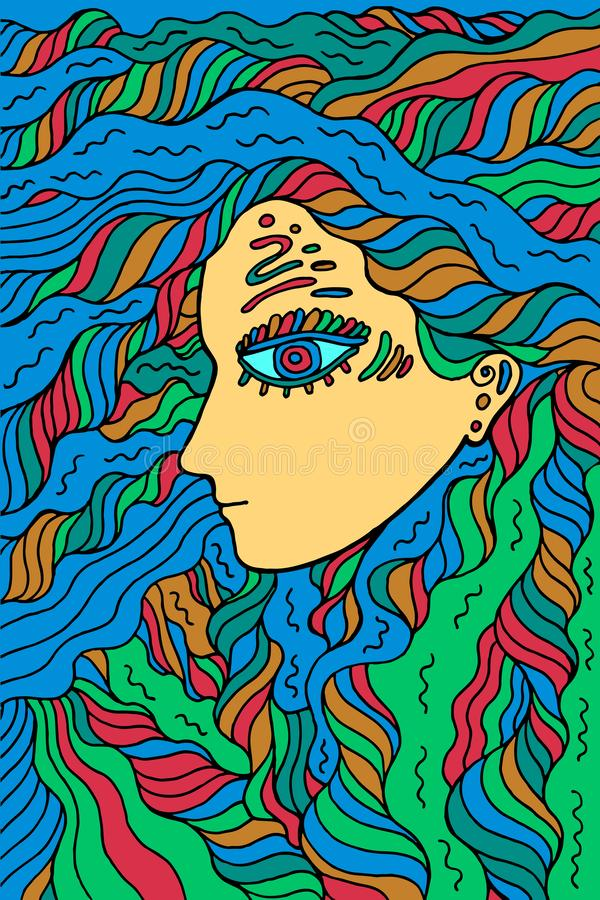 Den fantastiska medicinmanflickan - klottra den färgrika grafiska linjen konst mystic vektor illustrationer