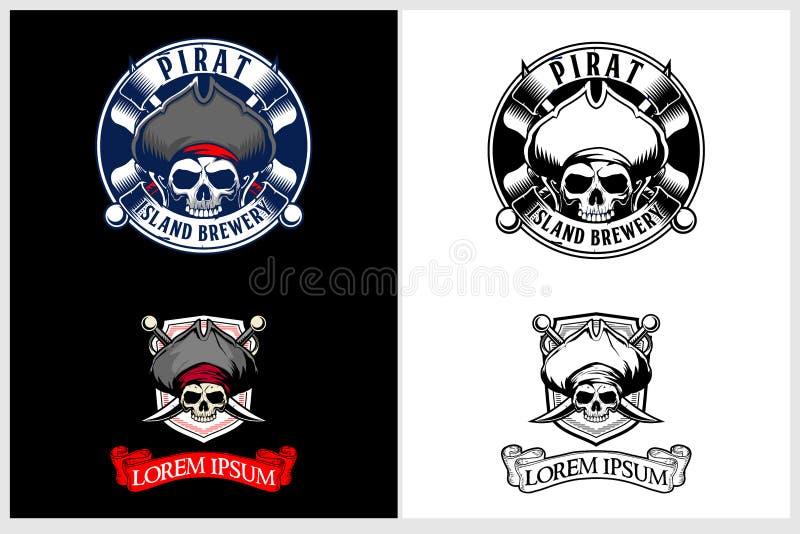 Den fantastiska och unika uppsättningen av piratkopierar mallen för logoen för emblemet för skallehuvudvektorn royaltyfri illustrationer
