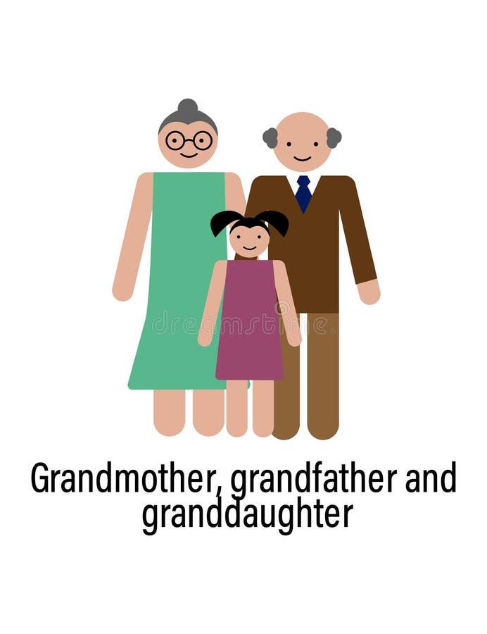 Den farmor-, farfar- och sondottersymbolen kan användas för rengöringsduken, logoen, den mobila appen, UI, UX royaltyfri illustrationer