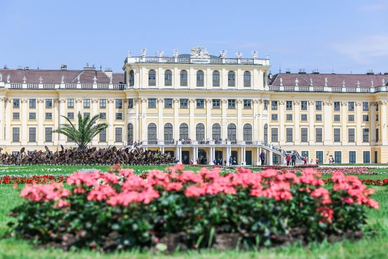 Den fasadSchonbrunn slotten och blommorna, Wien fotografering för bildbyråer