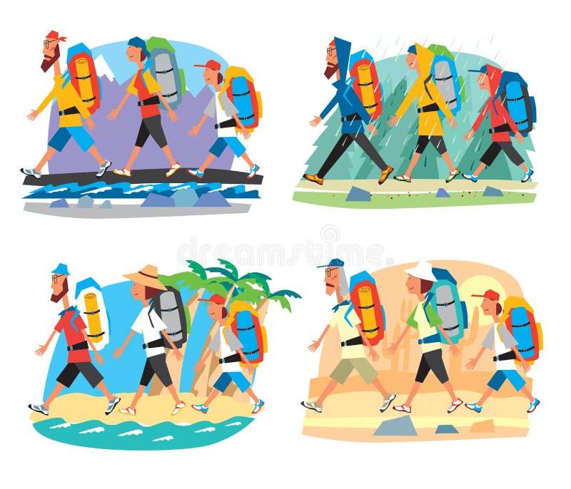 Den fastställda fotvandra turistfamiljen går med ryggsäckar i olika villkor i bergen, i taigaen, på kusten, i öknen stock illustrationer