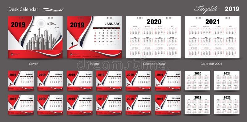 Den fastställda vektorn 2019, kalendern 2020, 2021, 2022, 2023, räkningsdesign för designen för mallen för skrivbordkalendern, st royaltyfri illustrationer