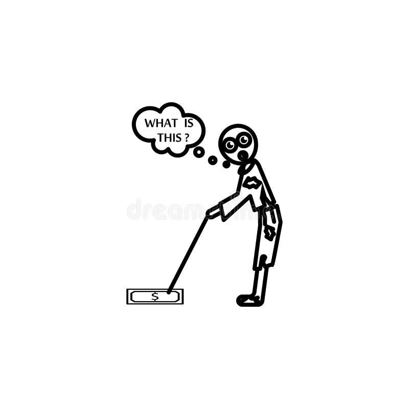 Den fattiga mannen bötfällde pengarsymbolen Beståndsdel av symbolen för socialt liv för armod för mobila begrepps- och rengörings vektor illustrationer