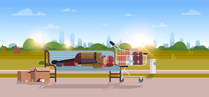 Den fattiga mannen som sover den utomhus- berusade tiggaren som ligger på hemlös begreppsstad för träbänk, parkerar landskap royaltyfri illustrationer