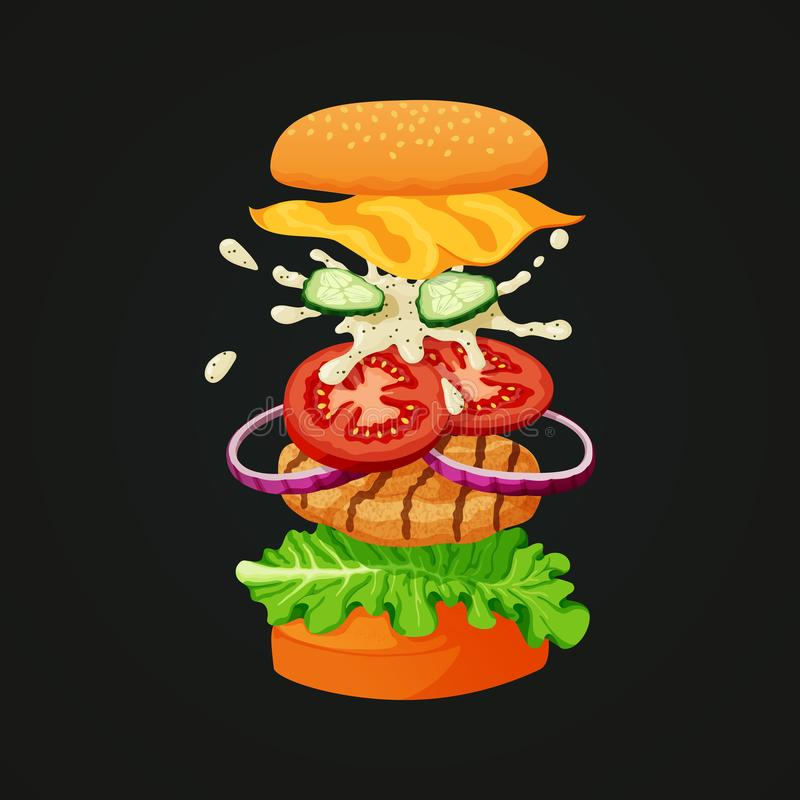 Den fega hamburgaren avskilde in i lager som visar alla ingredienser vektor illustrationer