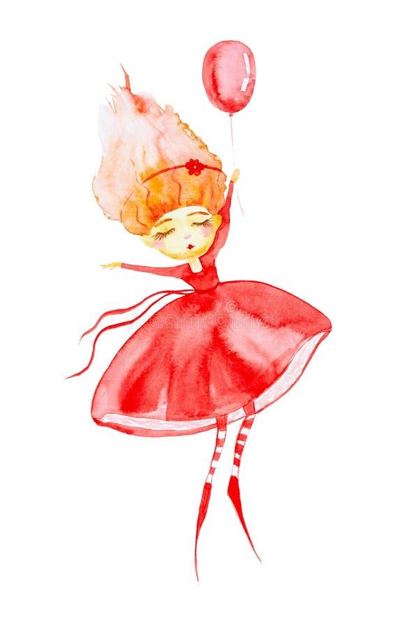 Den felika flickan i en r?d kl?nning och randiga strumpor, med r?tt h?r som framkallar i vinden, flyger rymma en ballong vattenf? royaltyfri illustrationer