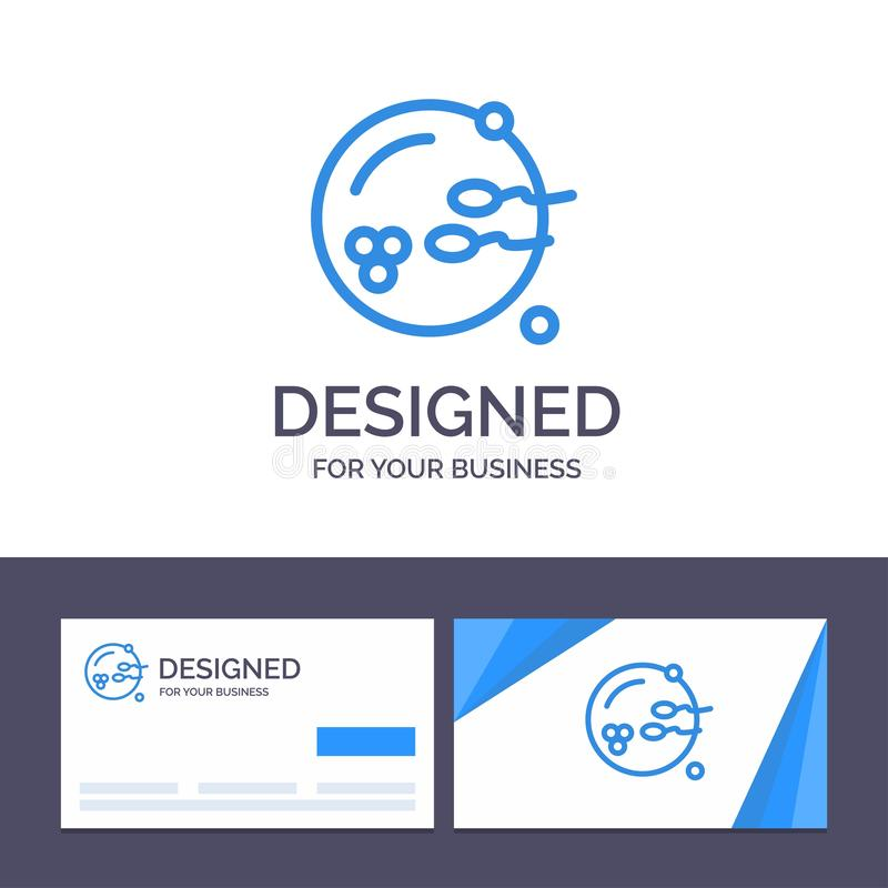 Den fertila idérika mallen för affärskortet och logo, fortplantning, reproduktion, könsbestämmer vektorillustrationen royaltyfri illustrationer