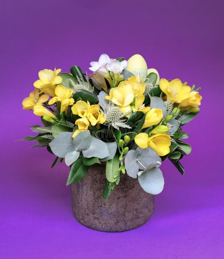 Den festliga blommaordningen av gula och vita freesiablommor och andra växter med påskägg dekorerade på violet royaltyfria bilder