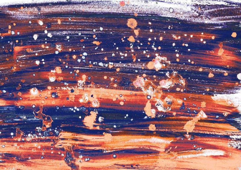 Den festliga färgrika abstrakta handen målade bakgrund med mousserar och bokeheffekt Färgstänk av olja- eller akrylmålarfärg sky  arkivfoton