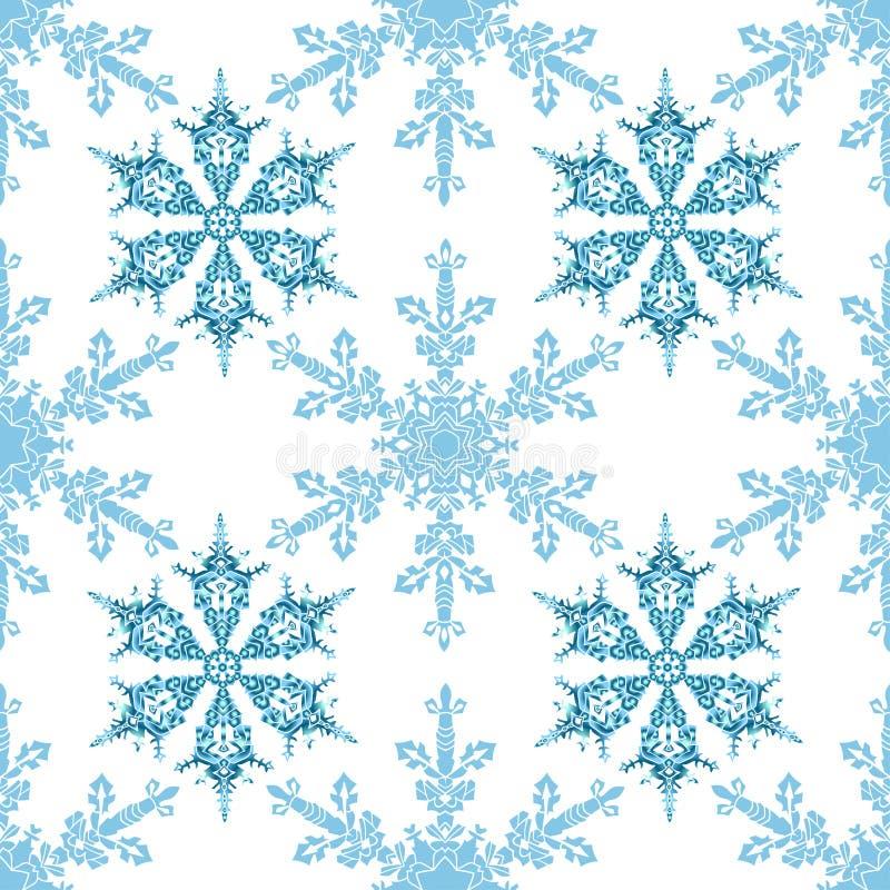 Den festliga sömlösa modellen med blått färgade snöflingor på vit bakgrund vektor illustrationer