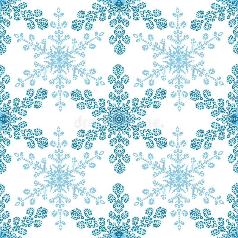 Den festliga sömlösa modellen med blått färgade snöflingor på vit bakgrund stock illustrationer