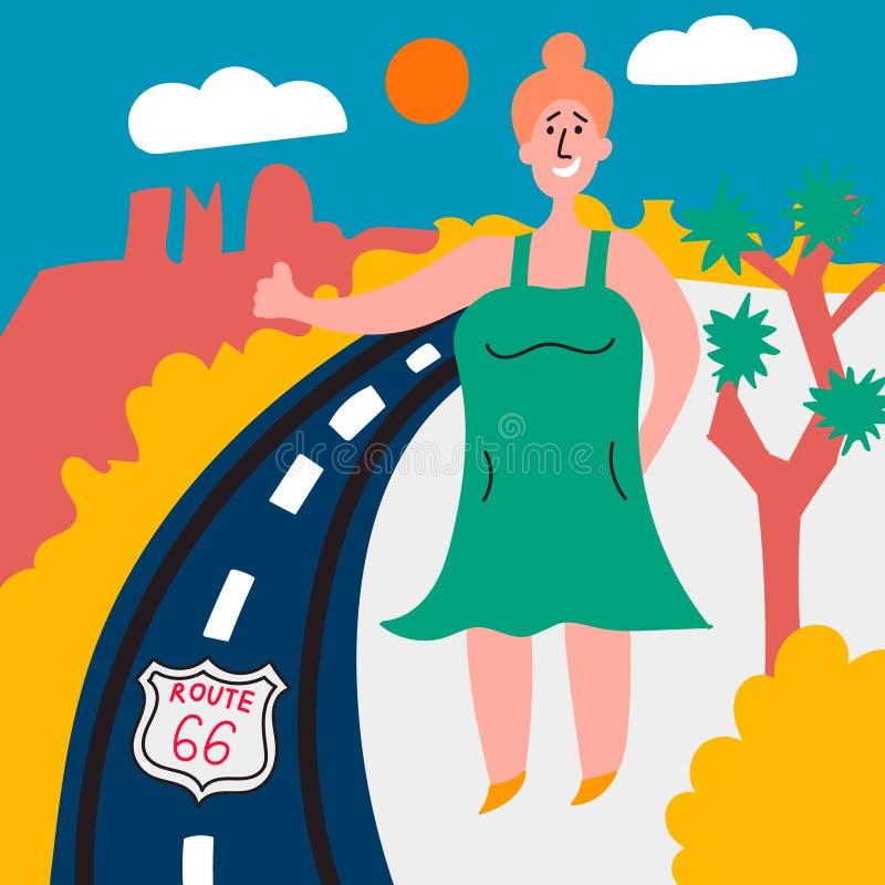 Den feta flickan röstar på huvudväg 66 i USA Hake-fotvandra Resa till och med Amerika vektor illustrationer