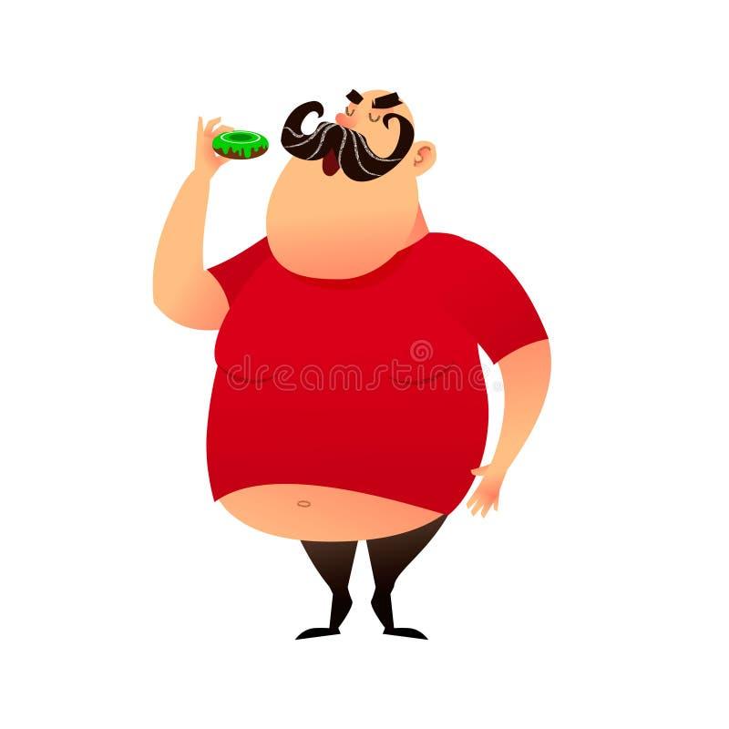 Den feta grabben tar en tugga av en munk Rolig tecknad filmfetmaman i en T-tröja med en naken buk Pösigt mustachioed stort lyckli royaltyfri illustrationer