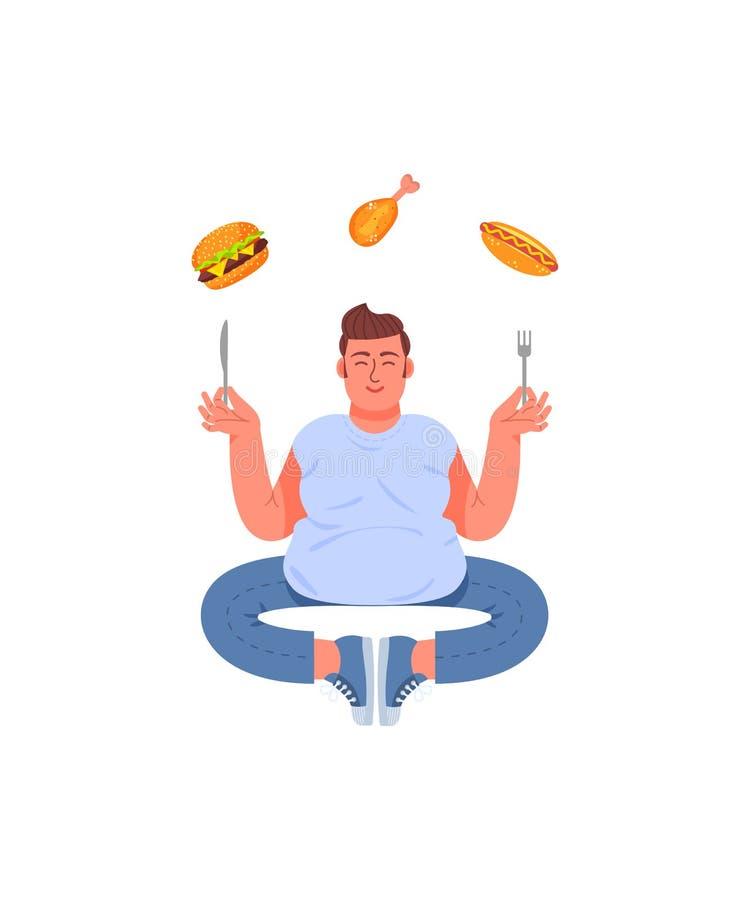 Den feta mannen i poserar av meditation med en gaffel och en kniv i hans händer Fet man och sjuklig mat Hamburgare, varmkorv och  stock illustrationer
