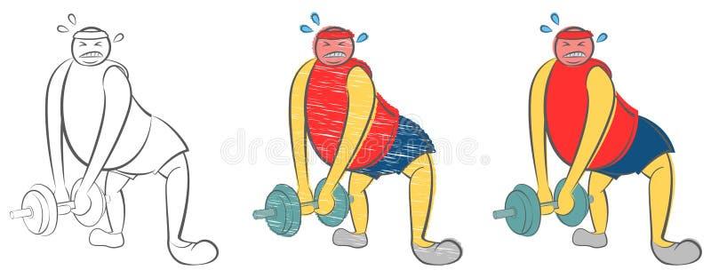 Den feta mannen kan inte lyfta en tung hantel Grabb som försöker att förlora vikt bakgrund suddighetdde den skyddande pillen f?r  royaltyfri illustrationer