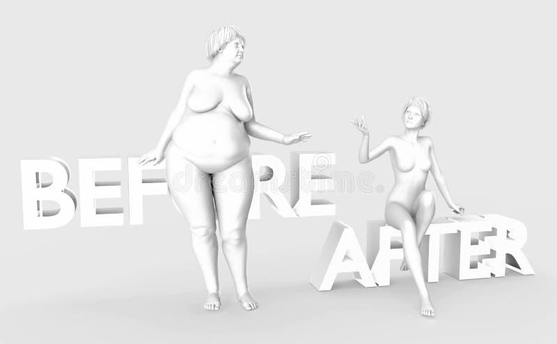 Den fett damen och slankt bantar kvinnor Sjukligt och sunt livsstilfolk på ljus - grå bakgrund Märka före och efter vektor illustrationer