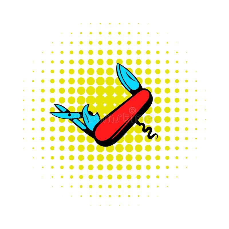 Den fick- kniven med massor av hjälpmedelsymbol, komiker utformar royaltyfri illustrationer
