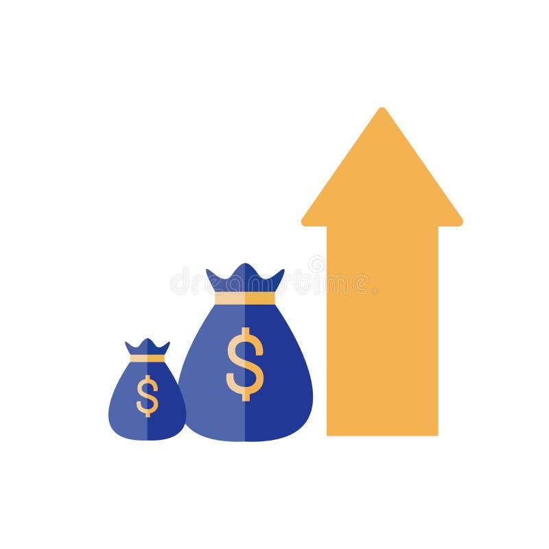 Den finansiella kapaciteten, statistikrapport, ökar affärsproduktivitet, aktieandelsfonden, retur på investeringen, finansbefästn stock illustrationer