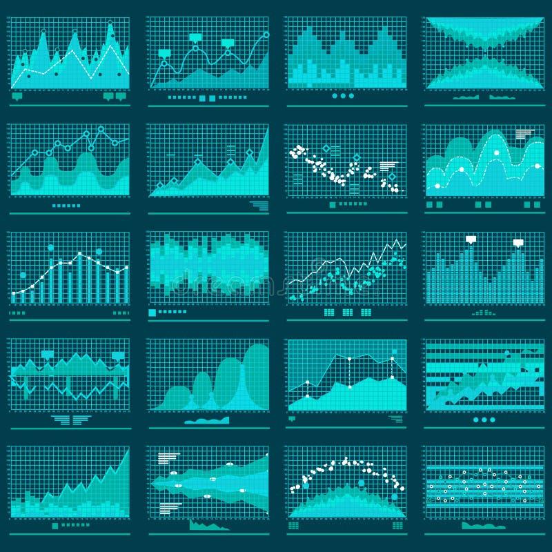 Den finansiella trenden Graphs affärsvektorbanret stock illustrationer