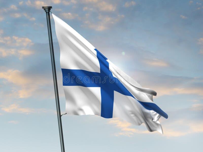 Den finlandssvenska flaggan, Finland färgbakgrund, 3D framför stock illustrationer