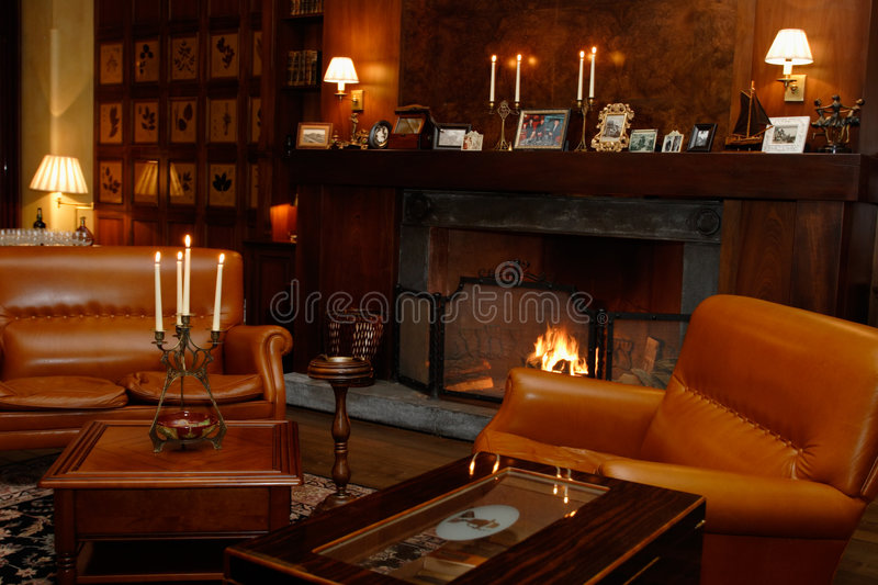 Download Den, Fireplace, Leather Chairs Stock Photo   Image Of Elegance,  Interior: