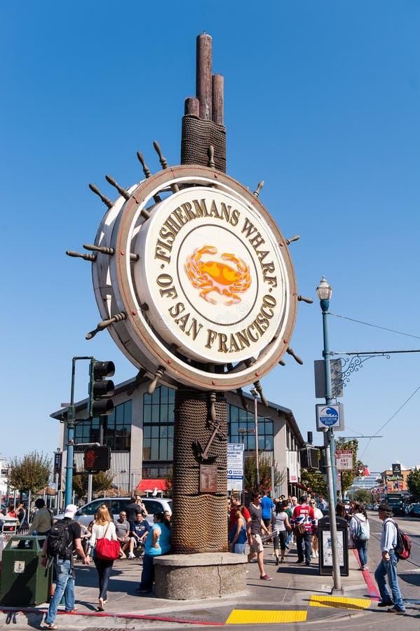 Den Fishermans hamnplatsen undertecknar in San Francisco royaltyfri foto