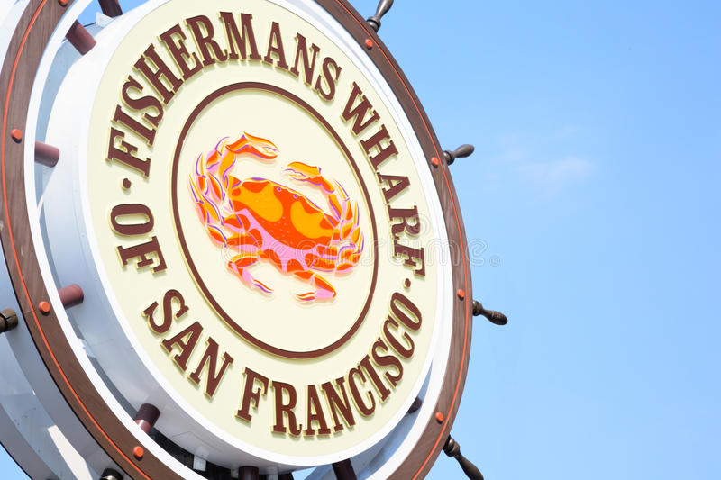 Den Fishermans hamnplatsen undertecknar in San Francisco arkivfoton