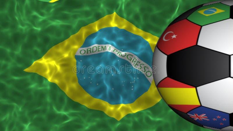 Den flaggor utskrivavna fotbollbollen som kretsar på realistiska krabba Brasilien, sjunker royaltyfri illustrationer