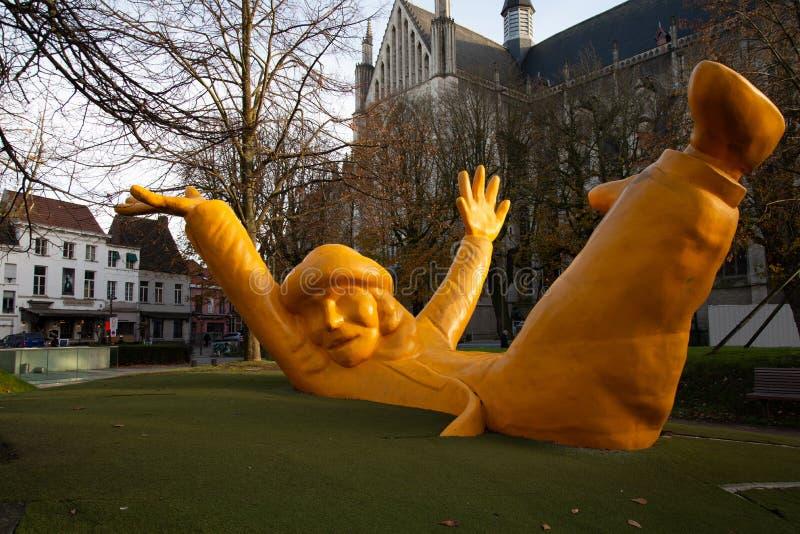 Den flamländska belgiska staden Mechelen Huvudkvadraten royaltyfria foton