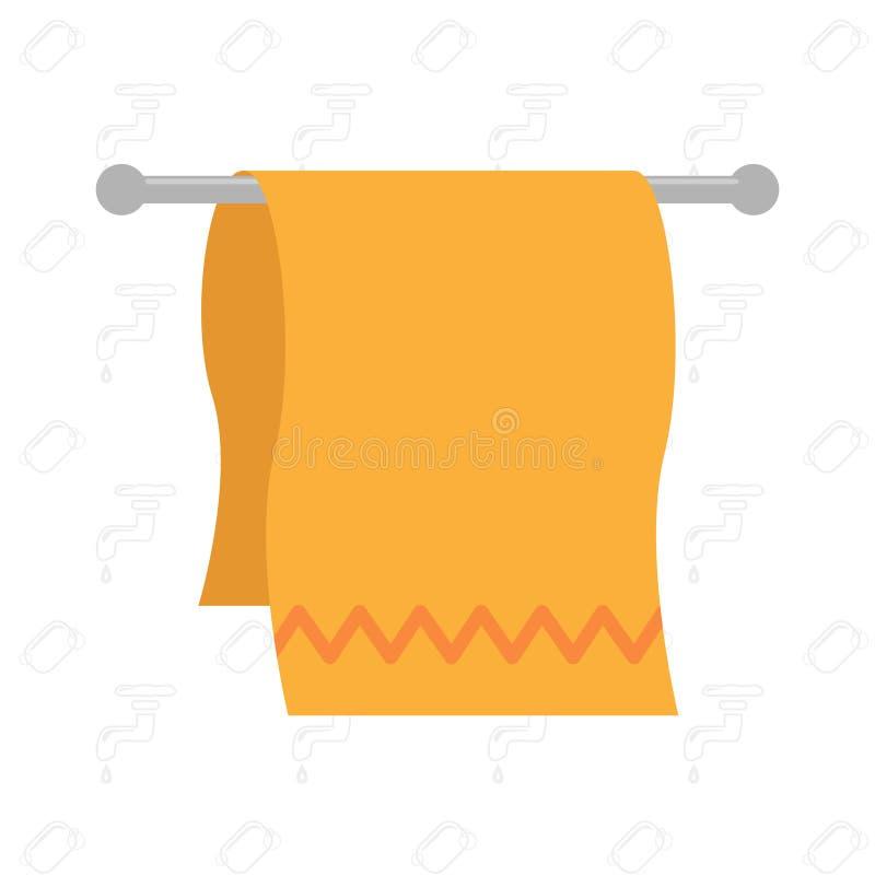 Den fluffiga bomullskökshandduken av orange färg väger på hållaren för handdukar också vektor för coreldrawillustration stock illustrationer