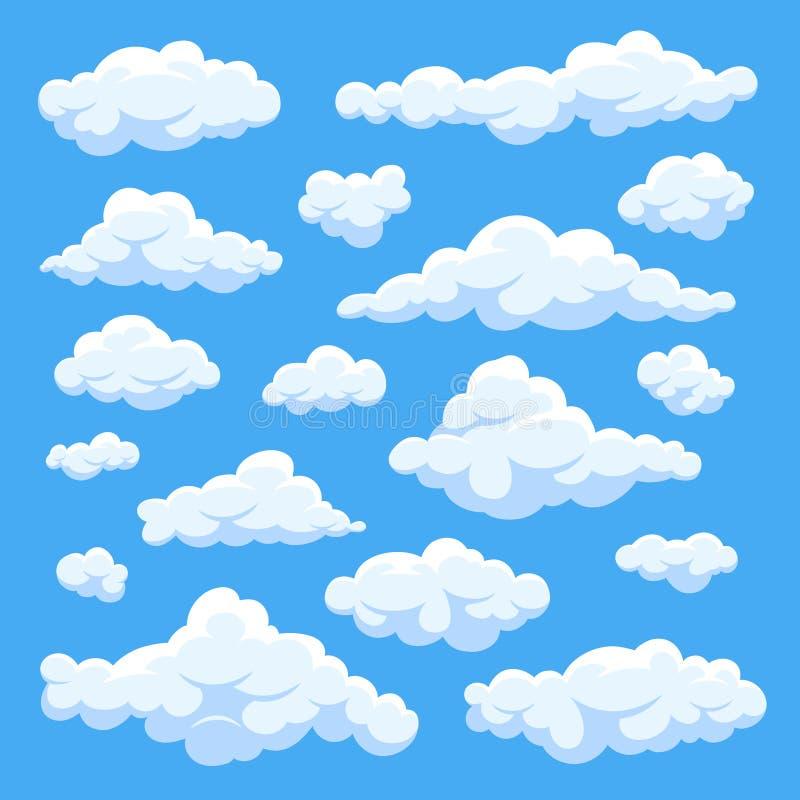 Den fluffiga vita tecknade filmen fördunklar i vektoruppsättning för blå himmel Molnig daghimmel stock illustrationer