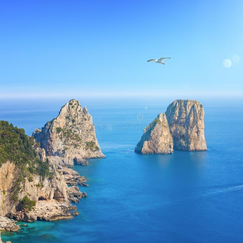 Den flyg- sikten av berömda Faraglioni vaggar från den Capri ön, Italien royaltyfria bilder
