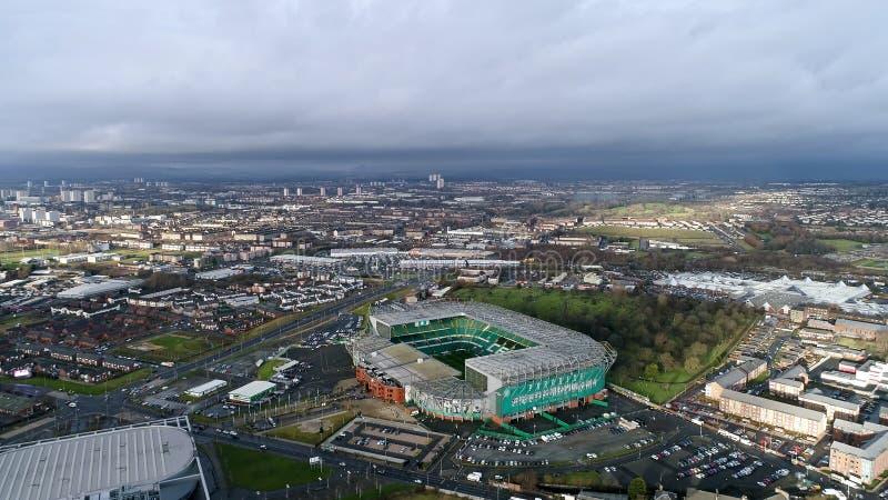 Den flyg- sikten av keltiskt parkerar arenan för FC-stadionfotboll i Glasgow arkivbilder