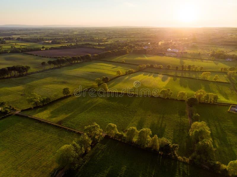 Den flyg- sikten av ?ndl?st frodigt betar och jordbruksmarker av Irland Härlig irländsk bygd med gröna fält och ängar lantligt royaltyfri bild