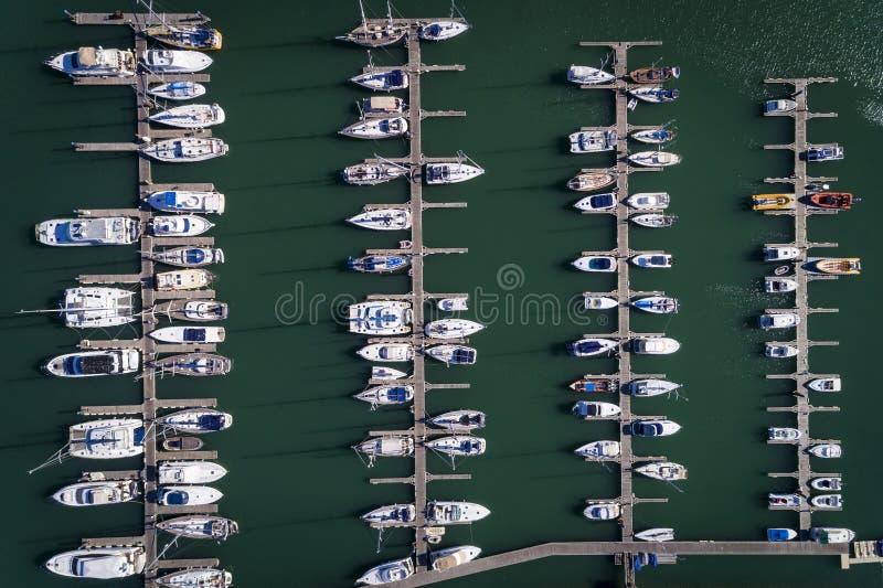 Den flyg- sikten av seglar fartyg som anslutas i en marina i Portimao, Algarve royaltyfri fotografi