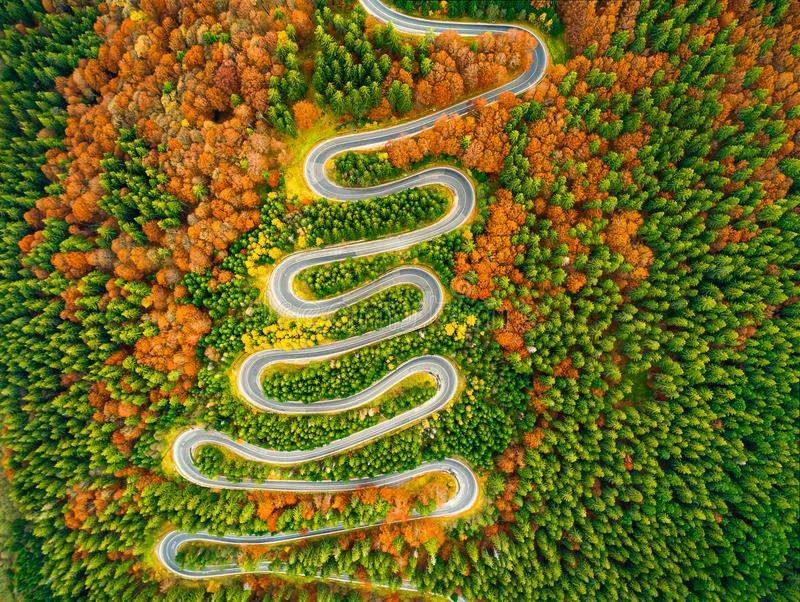 Den flyg- sikten av den slingriga vägen till och med höst färgade skogen arkivfoton
