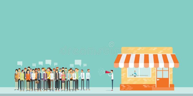 Den folkaffärsmeddelandet och marknadsföringen för affär tränger ihop stock illustrationer