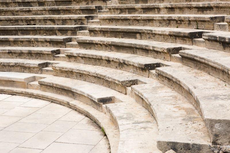 Den forntida amfiteatern ror bakgrund royaltyfri foto