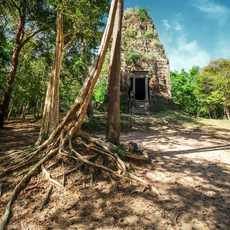 Den forntida Angkor Sambor Prei Kuk templet fördärvar pre cambodia royaltyfri foto