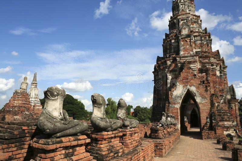 den forntida ayutthayaen fördärvar tempelet thailand arkivfoto