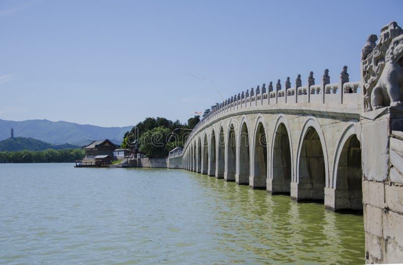 Den forntida bron, sommarslott, beijing arkivfoton