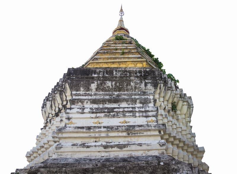 Den forntida buddistiska pagoden som isoleras på vit bakgrund royaltyfria foton