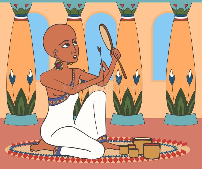Den forntida egyptiska kvinnan gör makeup hemma royaltyfri illustrationer