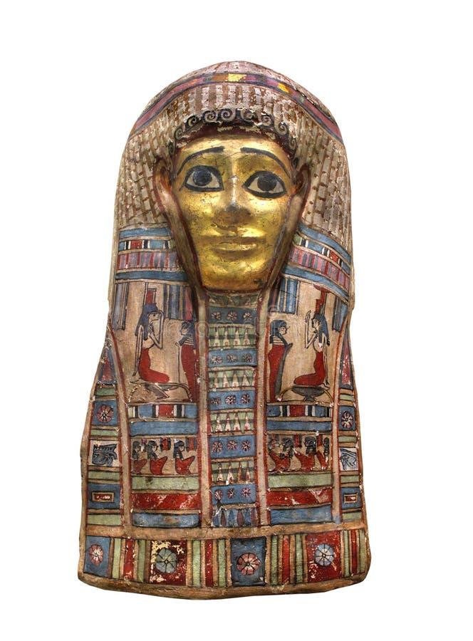 Den forntida egyptiska mamman maskerar isolerat. arkivfoton
