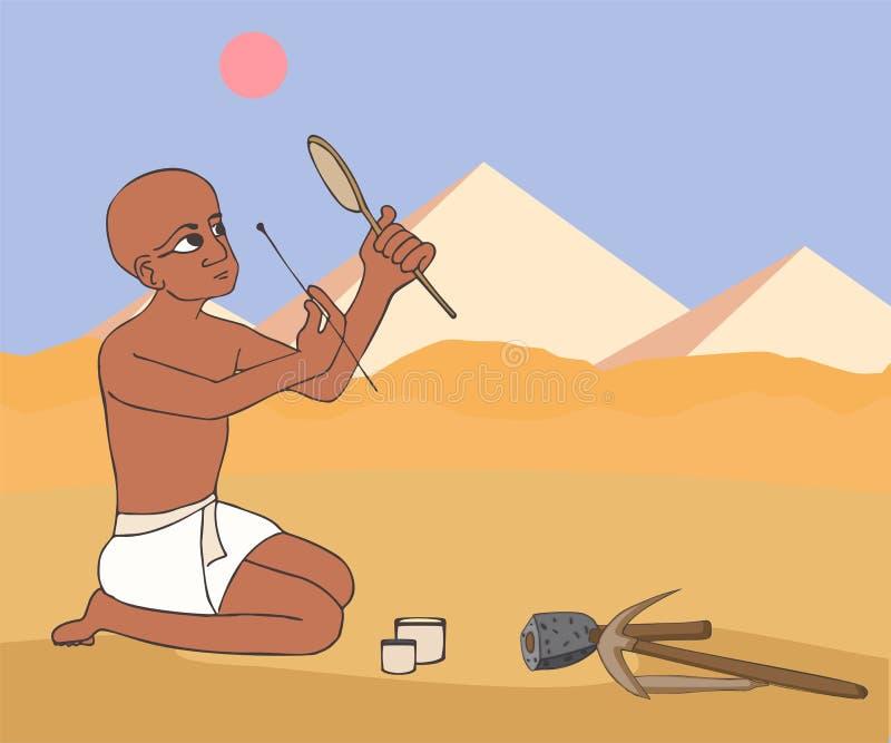 Den forntida egyptiska murarearbetaren gör makeuptecknade filmen vektor illustrationer
