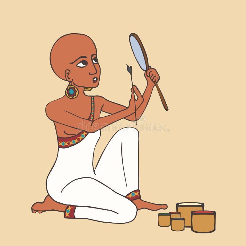 Den forntida egyptiska skalliga flickan gör makeup stock illustrationer