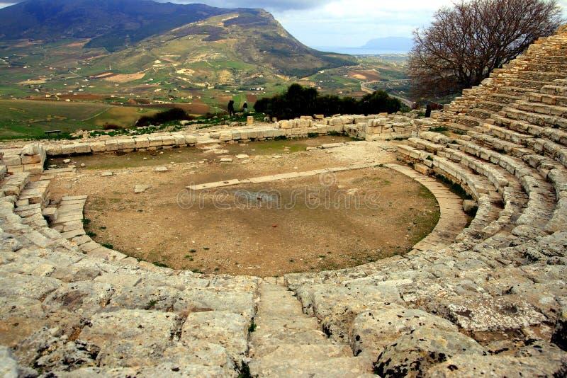 den forntida greken fördärvar den sicily teatern fotografering för bildbyråer