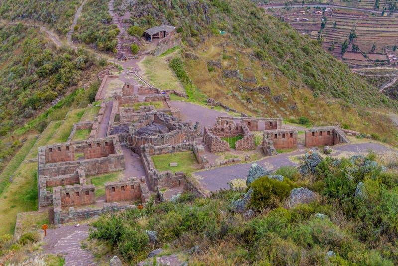 Den forntida inca'sen fördärvar nära Pisac arkivfoto