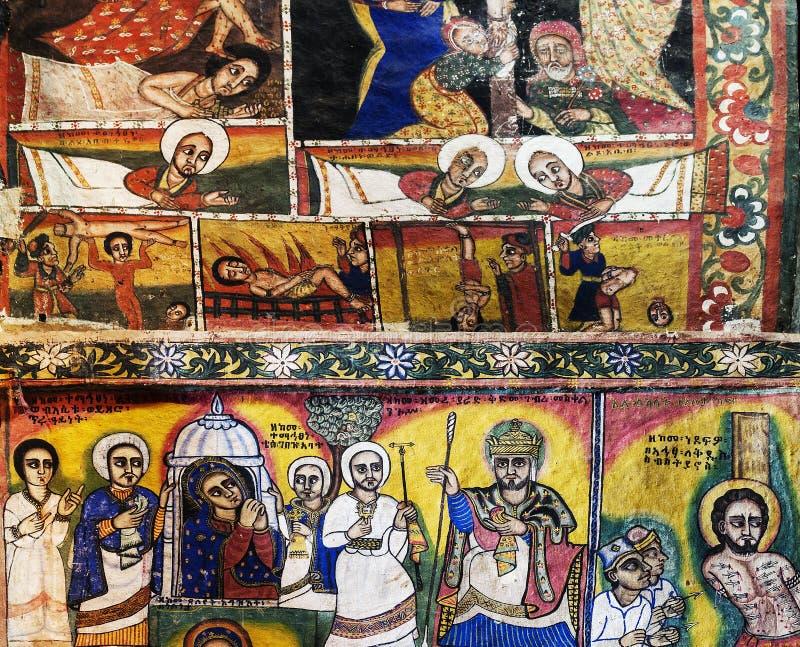 Den forntida inre för den ortodoxa kyrkan målade väggar i gondar ethiopi arkivfoton